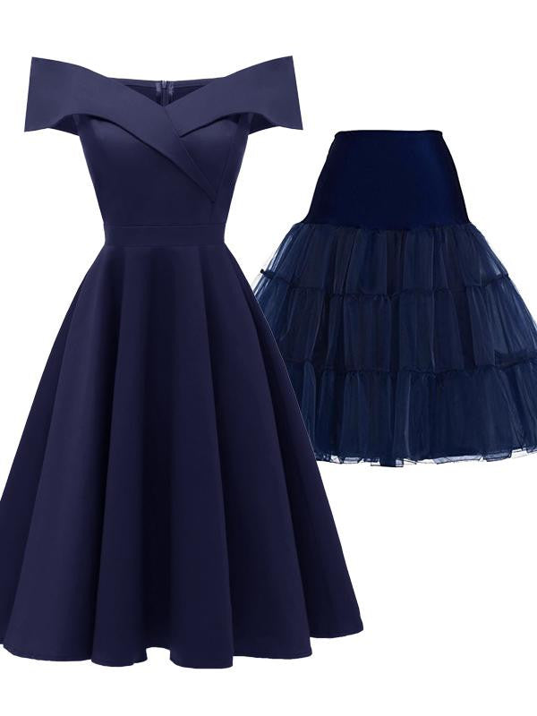 2PCS Off Shoulder 1950s Dress & Blue Petticoat