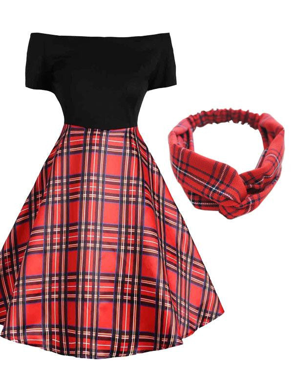 2PCS Top Seller Black Plaid Dress & Red Plaid Headband