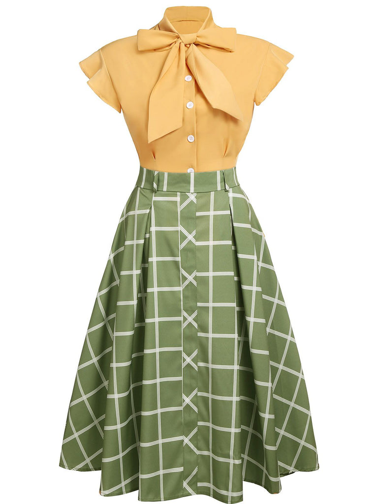 2PCS 1950s Bow Plaid Blouse & Skirt