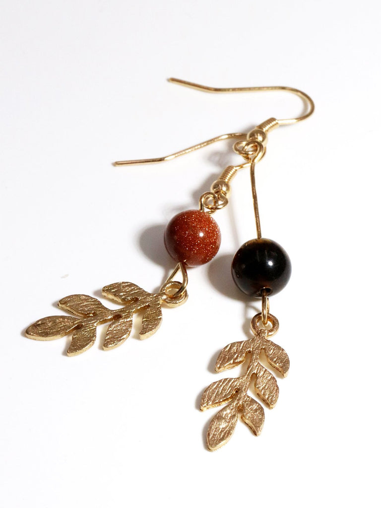 Vintage Asymmetry Tigerite Earrings