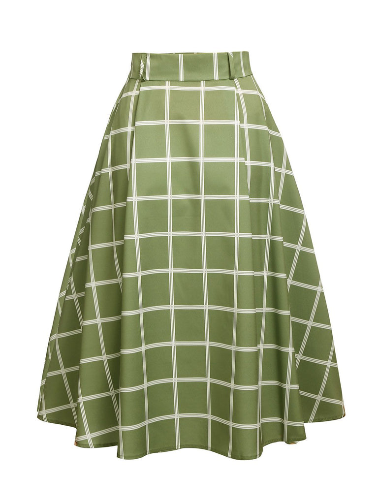 Green 1950s Plaid Swing Skirt