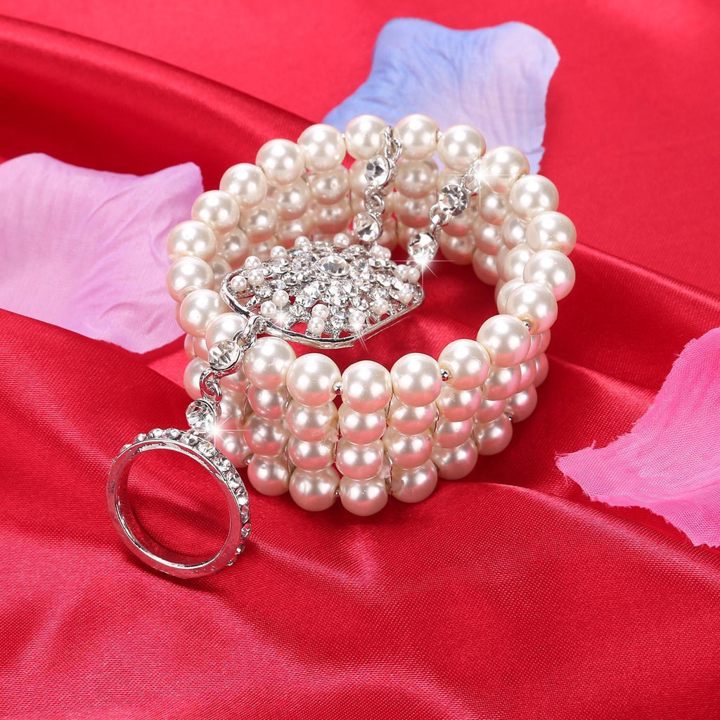 US Only Silver 1920s Pearl Flapper Bracelet