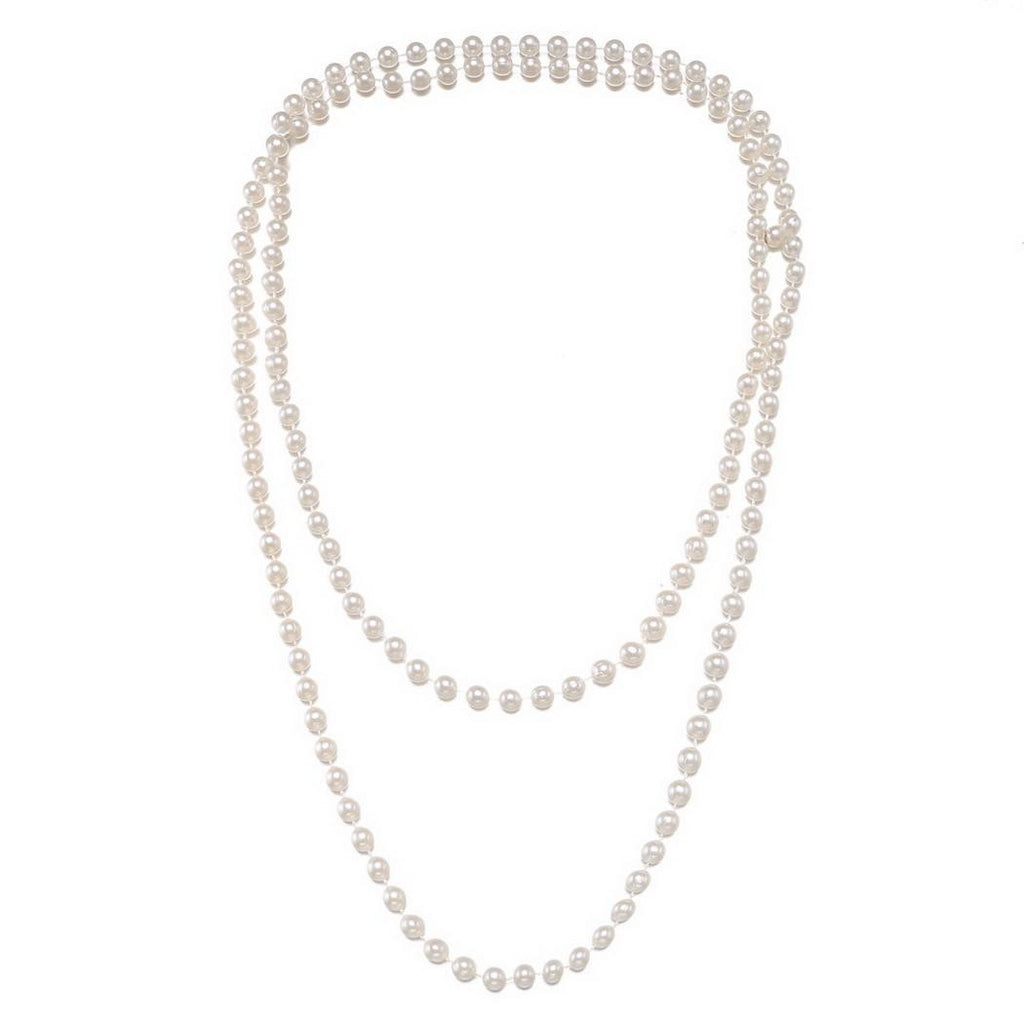 US Only White 1920s Pearl Flapper Necklace