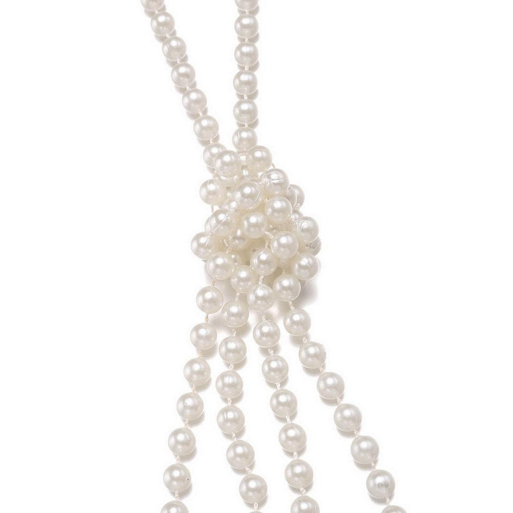 White 1920s Pearl Flapper Necklace