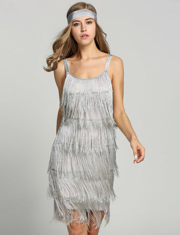 Belted Gray 1920s Fringe Gatsby Dress