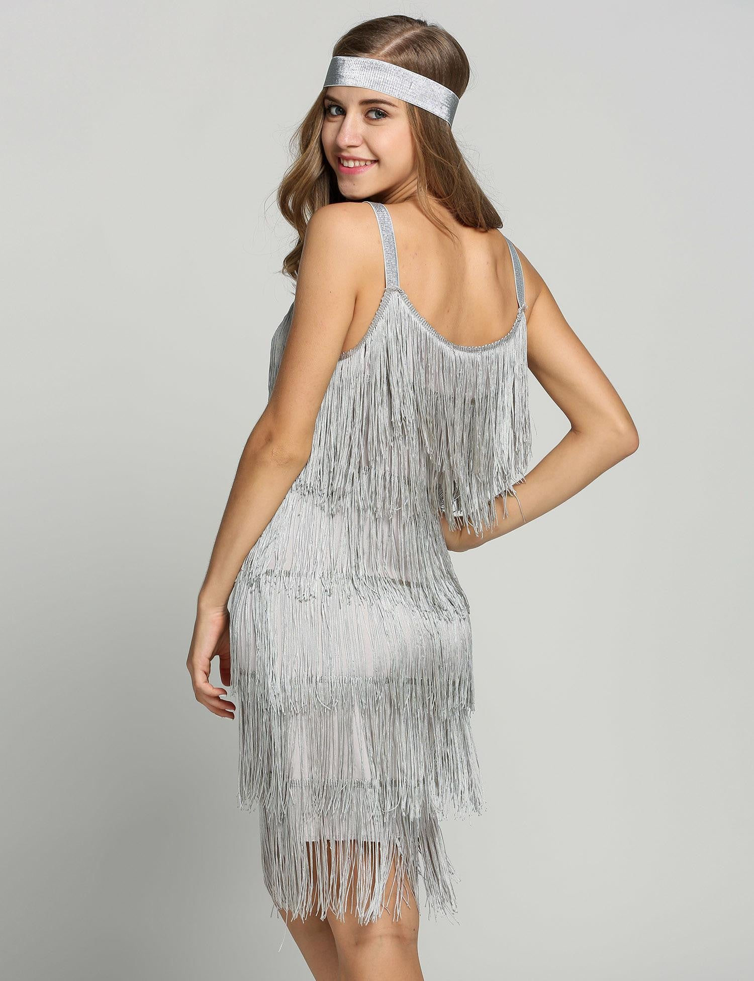 6fc3acc305b Belted Gray 1920s Fringe Gatsby Dress – Retro Stage - Chic Vintage ...