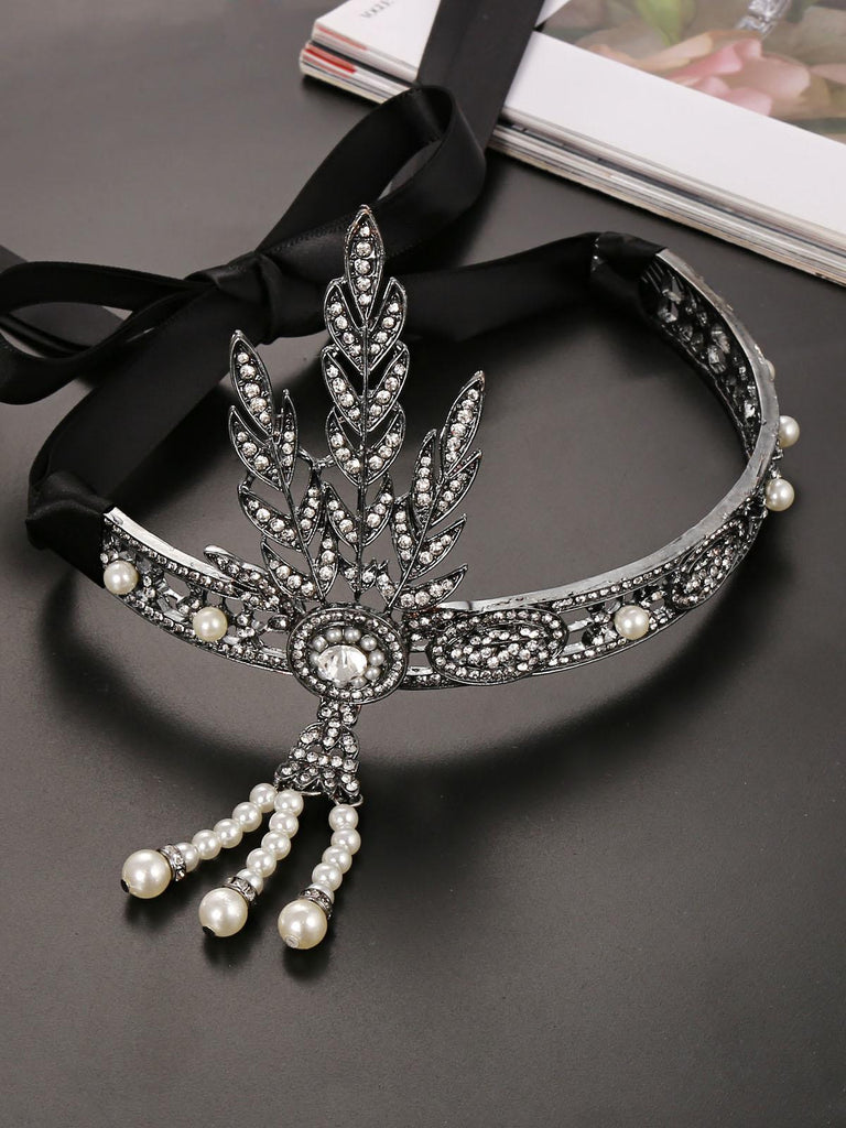 US Only Black 1920s Leaf Flapper Headband