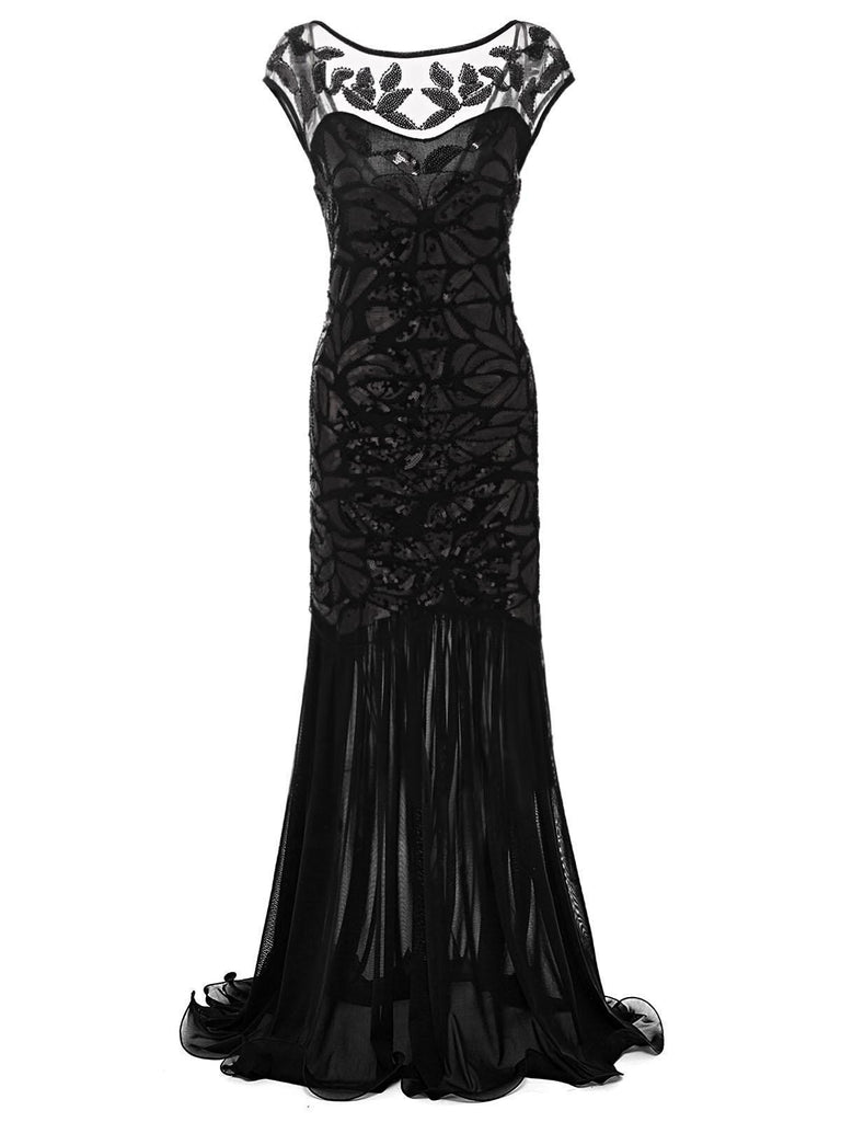 Black 1920s Sequin Maxi Flapper Dress