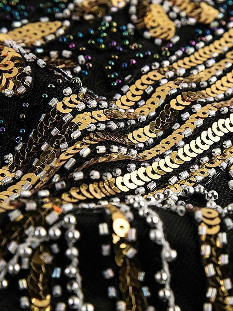 US Only Gold 1920s Sequined Flapper Dress