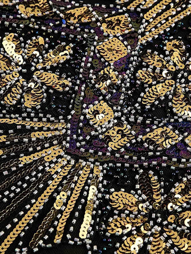 Gold 1920s Sequined Flapper Dress