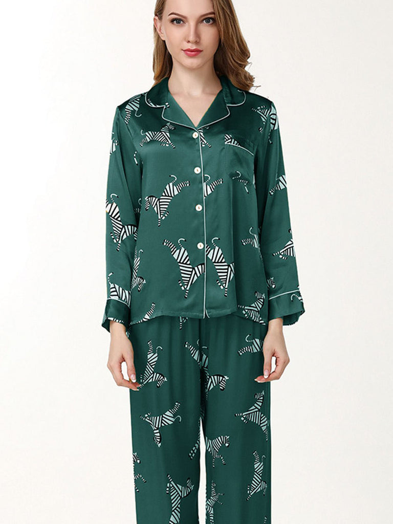 Zebra Trimmed Silk Pajamas Set