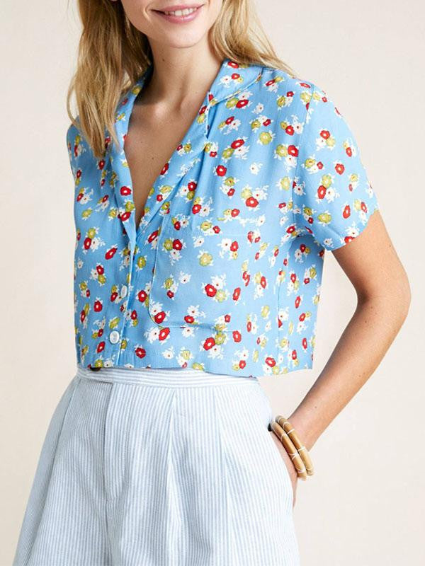 Retro Turn Down Collar Floral Crop Tops