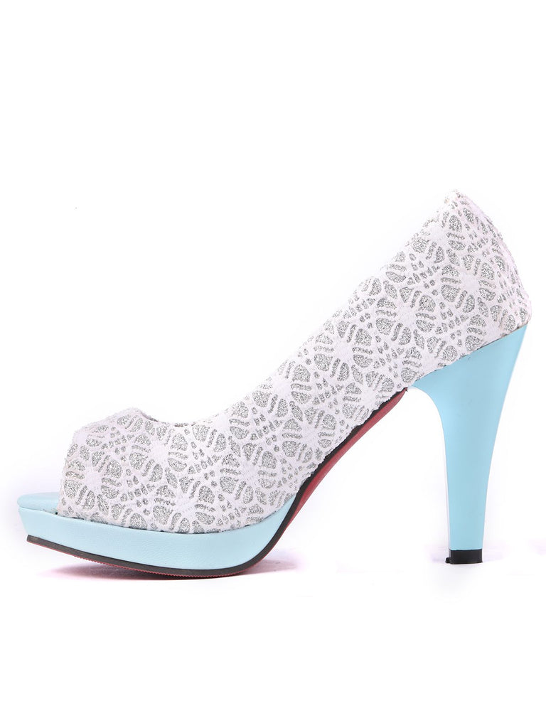 Retro Open Toe Sequins High Heel Shoes