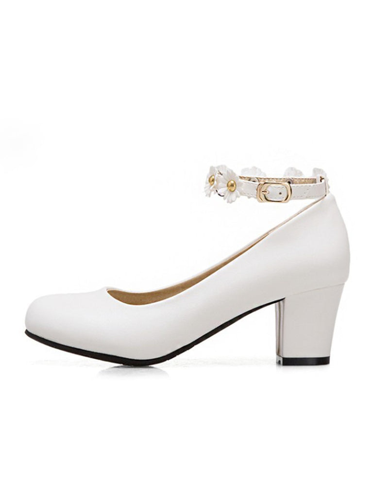 Retro Daisy Buckle Strap High Heel Shoes