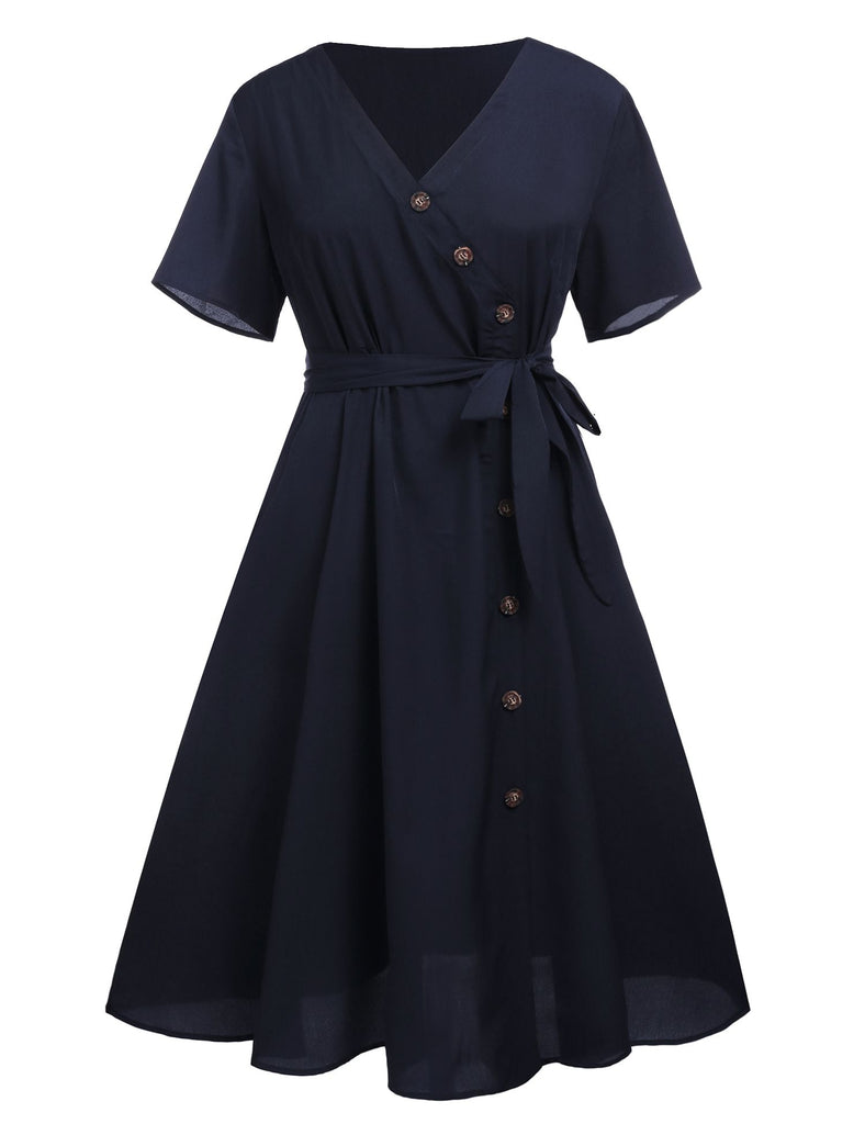 Plus Size Navy 1950s Button Swing Dress