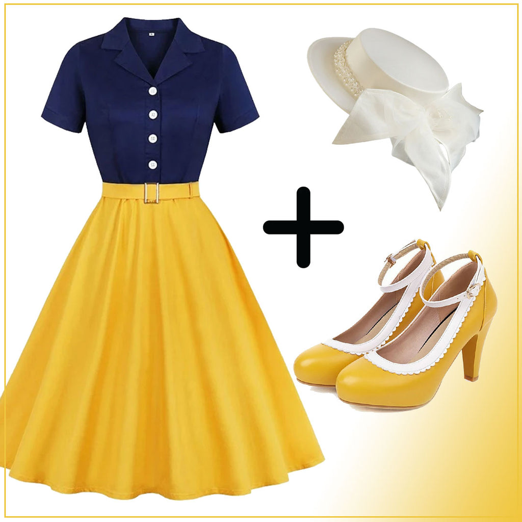 Snow White Style Button 1950s Dress