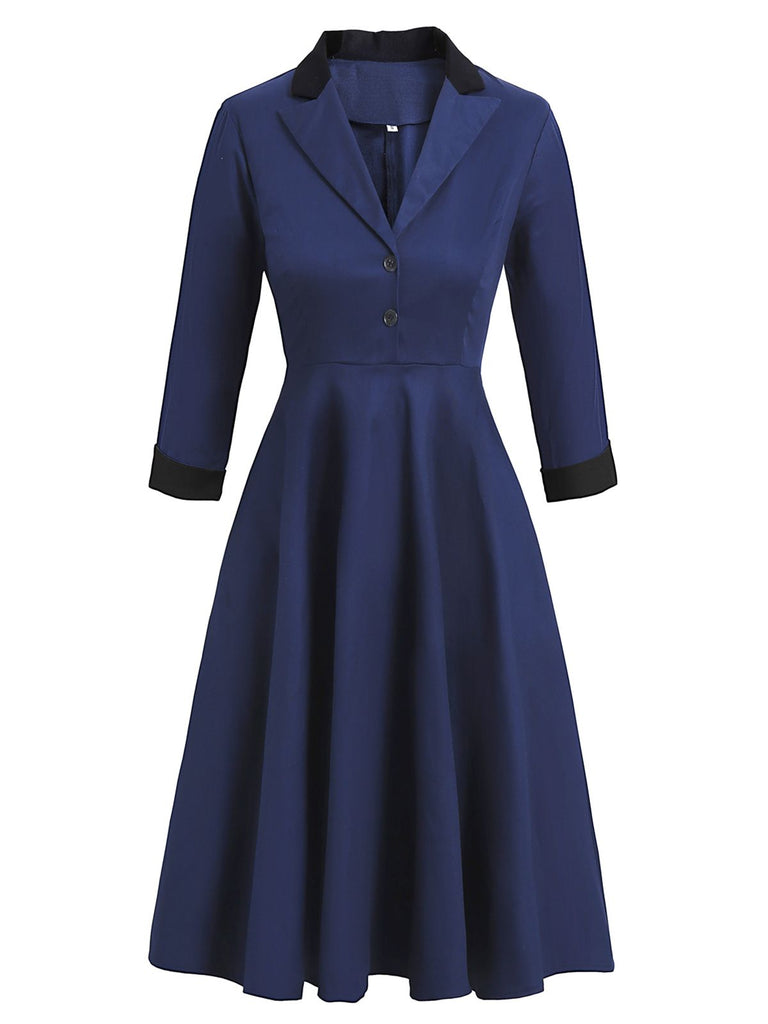 Navy Blue 1950s Button Pleated Swing Dress