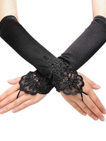 Black 1920s  Fingerless Lace Gloves