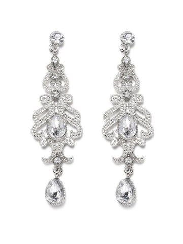 Silver 1920s Bridal Earrings