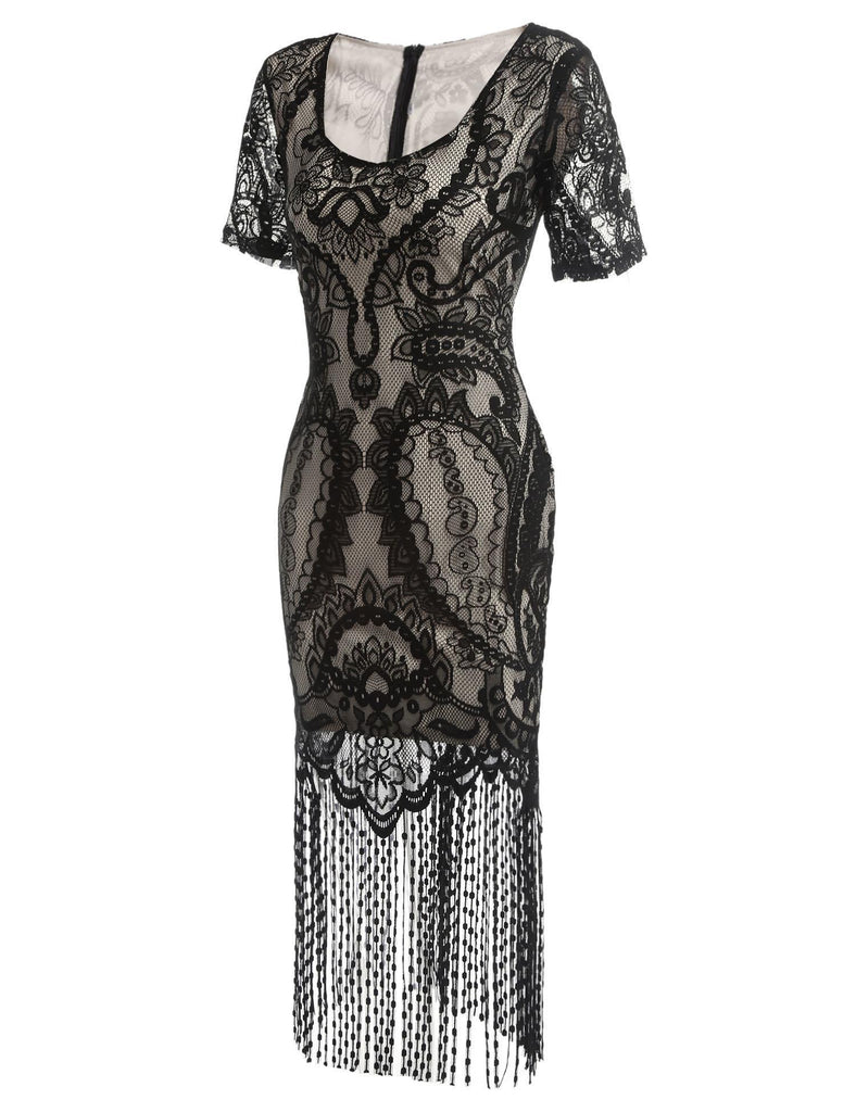 US Only Black 1920s Fringe Lace Flapper Dress