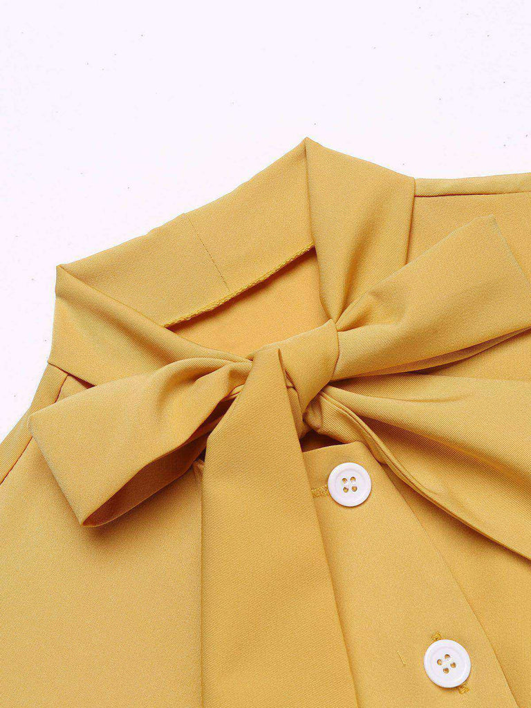 Yellow 1950s Bow Solid Blouse Top