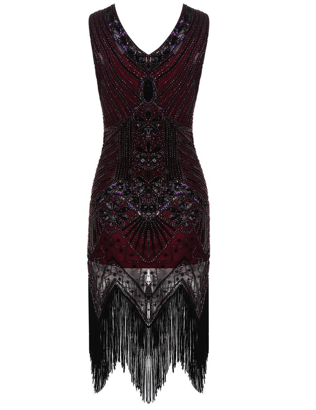 1920s Sequined Fringe Dress