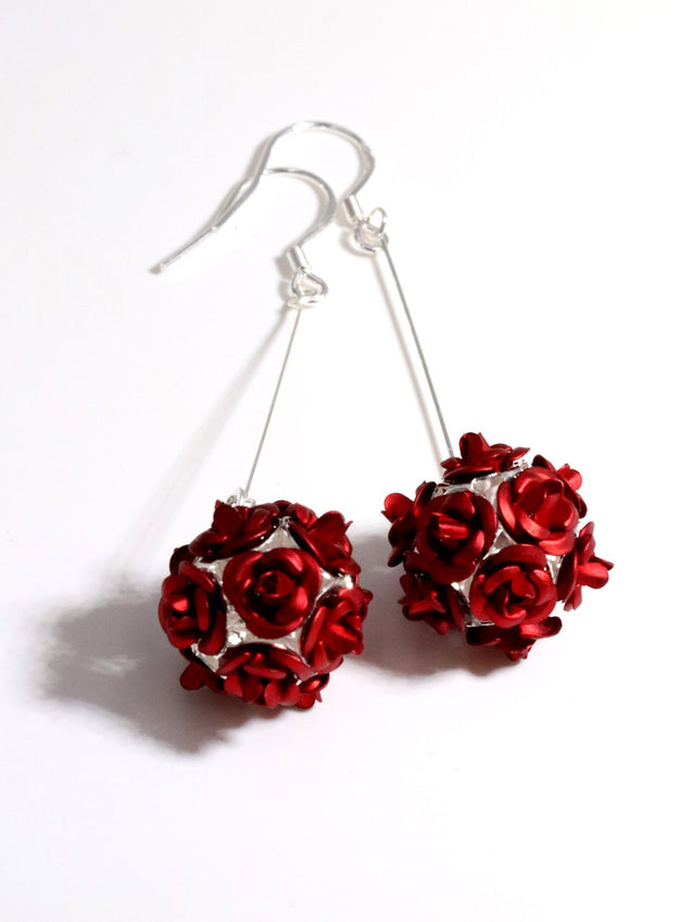 Vintage Flower Ball Earrings