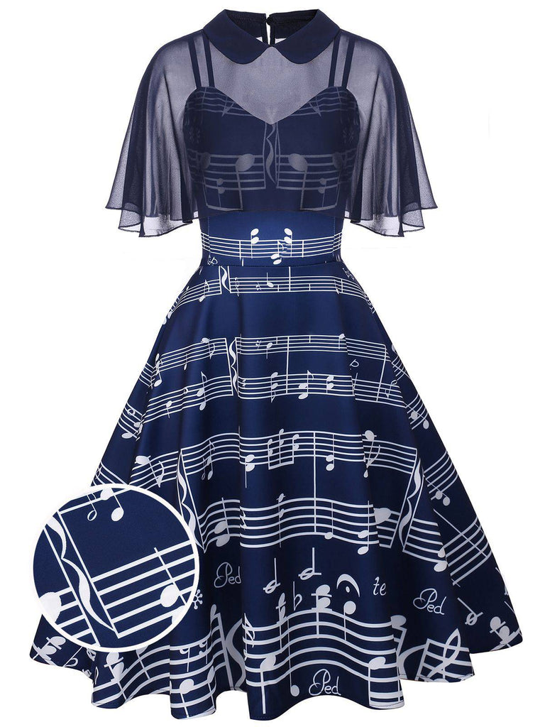 Navy 1950s Cape Music Swing Dress