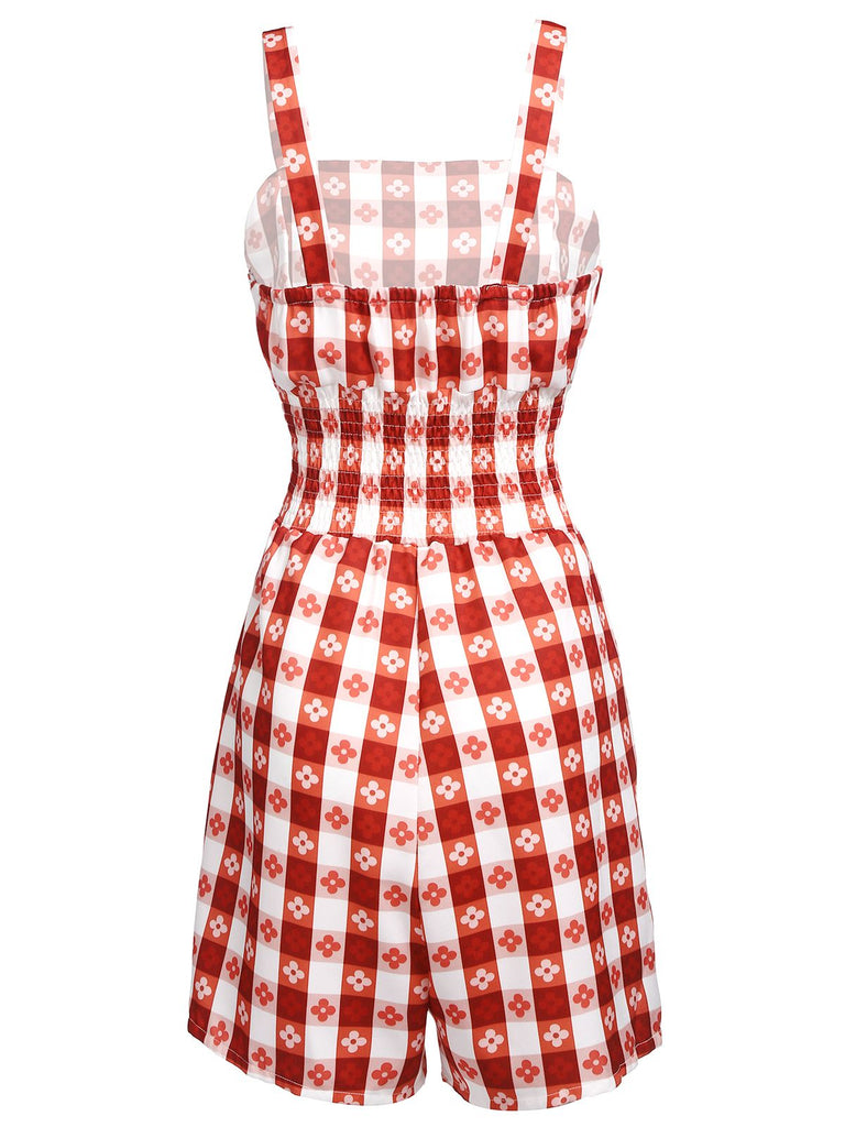 Red 1950s Plaid Strap Floral Romper