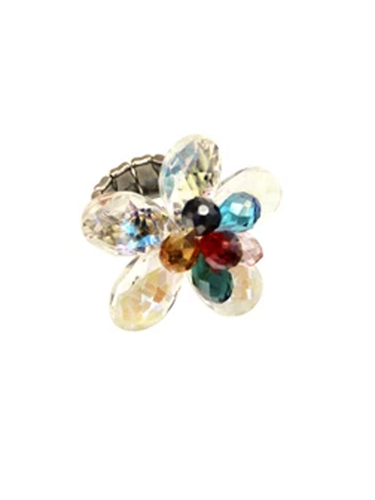 Multi-color Expandable Crystal Flower Ring