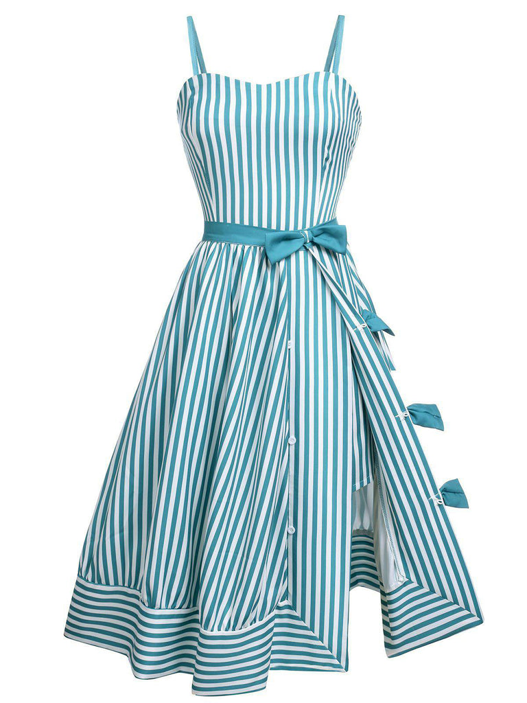 Turquoise 1950s Stripes Romper & Skirt