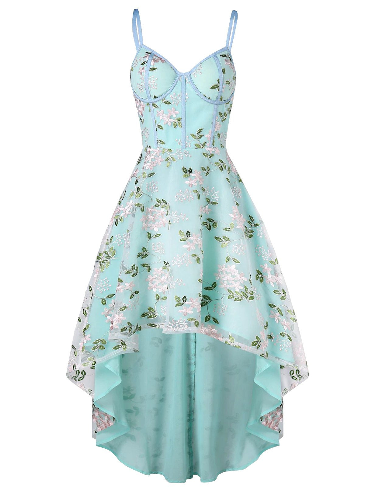 1950s Floral Embroidery Dress Retro Stage Chic Vintage