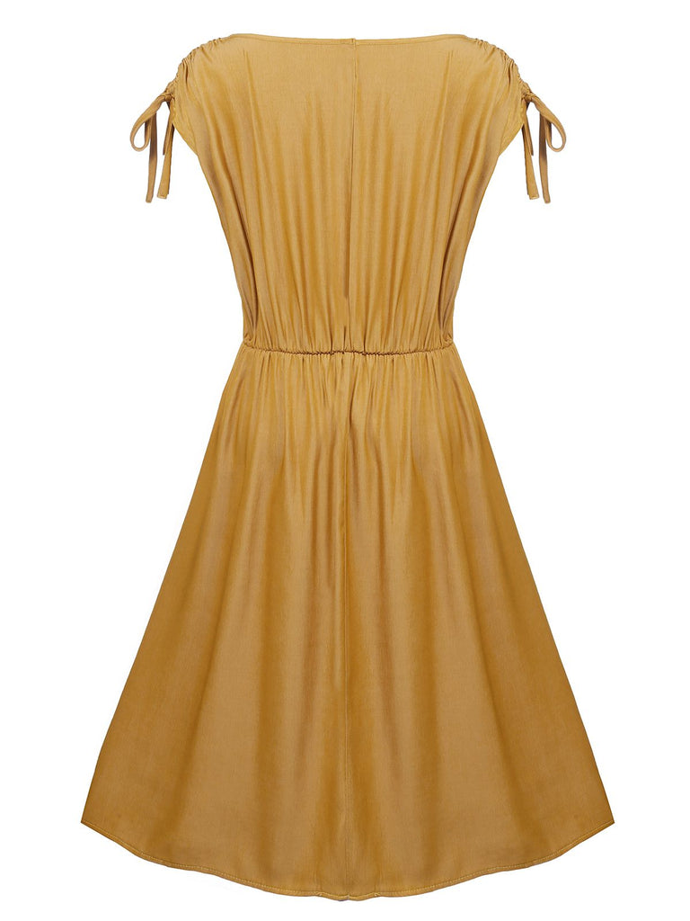 Plus Size Yellow 1950s Pleated Swing Dress