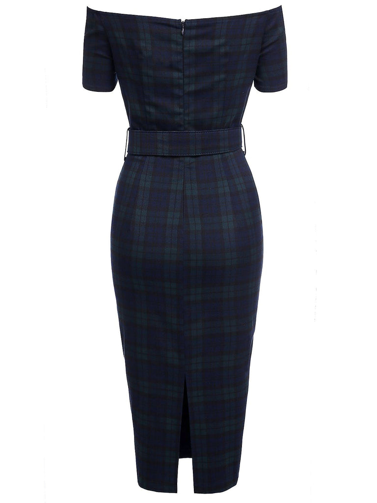 Navy 1960s Plaids Bodycon Dress