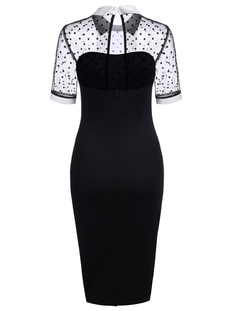 Black 1960s Illusion Bodycon Dress