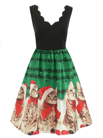 1950s Cat Swing Dress