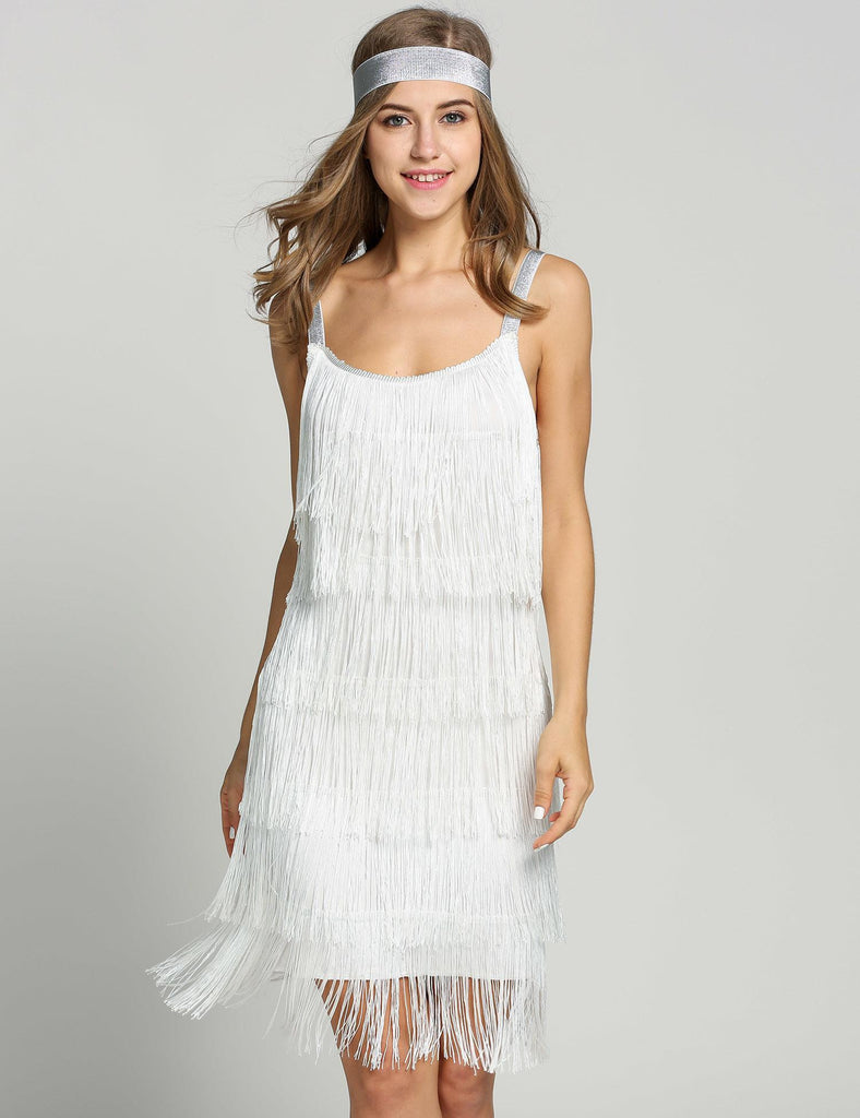 Belted White 1920s Fringe Gatsby Dress