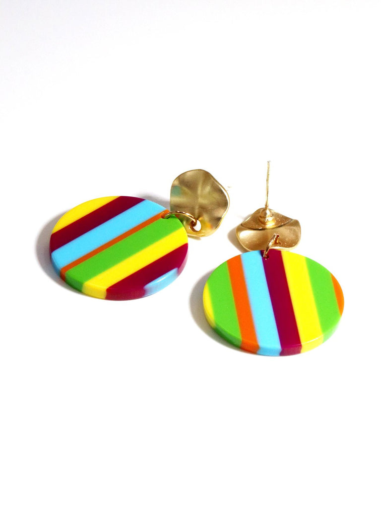 Vintage Colorful Stripe Earrings