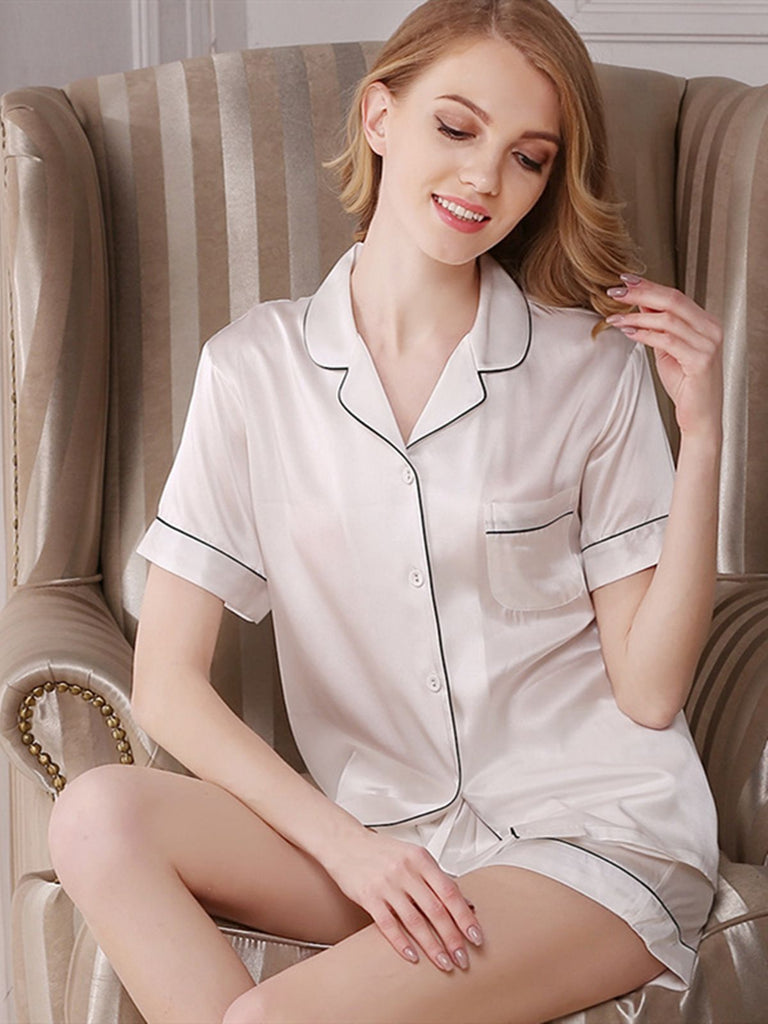 Short Trimmed Silk Pajamas Set