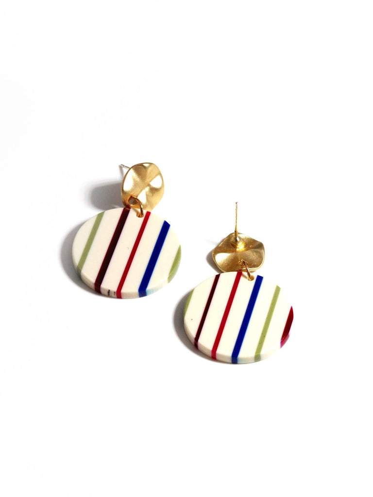 Vintage Beige Stripe Earrings