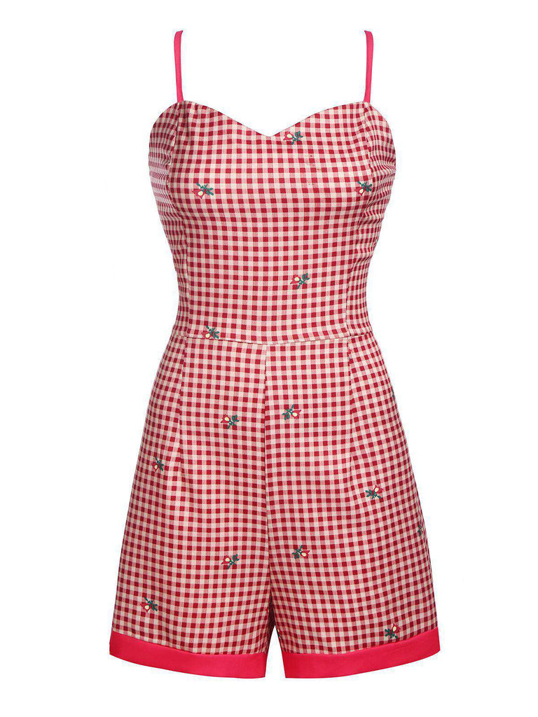 1950s Plaid Strap Romper & Skirt