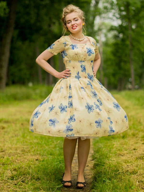 Yellow 1950s Floral Lace Swing Dress
