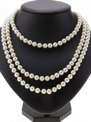 White 1920s Cluster Pearl Necklace
