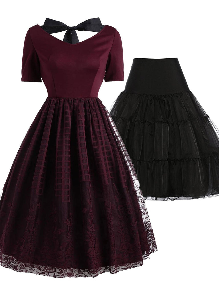 2PCS Top Seller Wine Red 1950s Dress & Black Petticoat