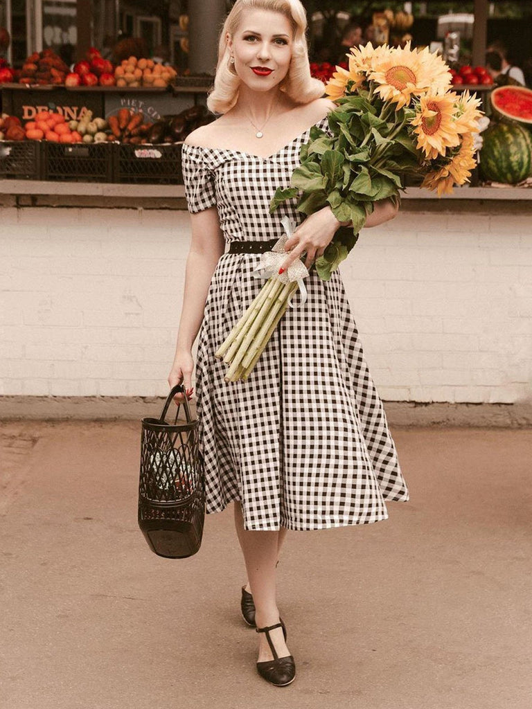 US Only Black 1950s Plaid Swing Dress