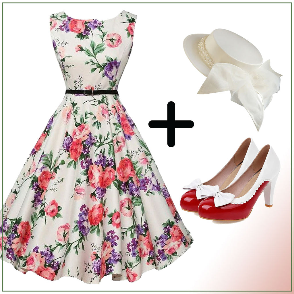 1950s Floral Belted Swing Dress