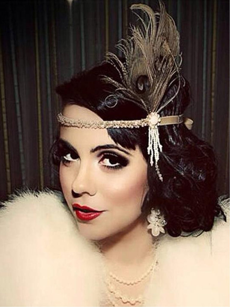 Apricot 1920s Feather Flapper Headband