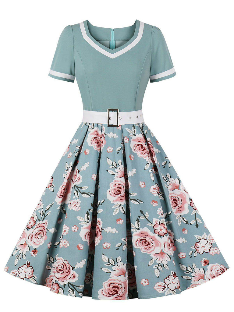 1950s Floral Patchwork Swing Dress