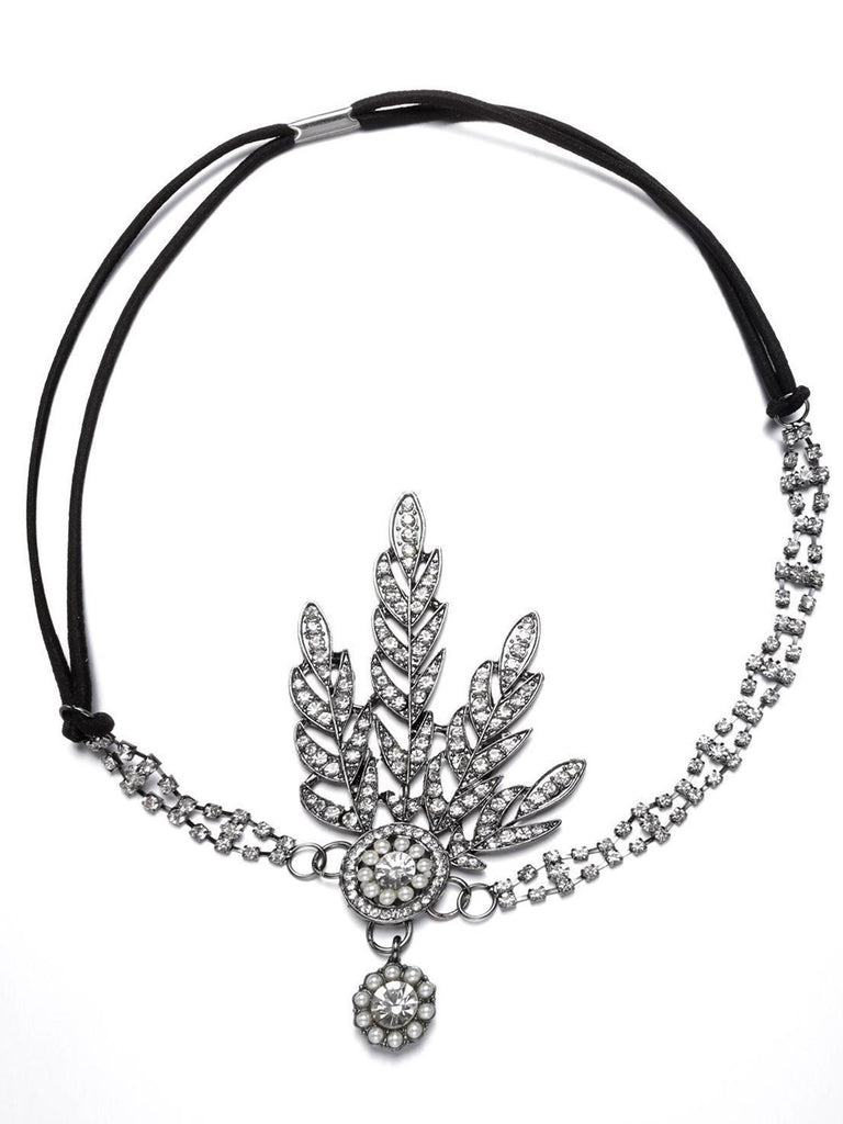 Black 1920s Leaf Flapper Headband