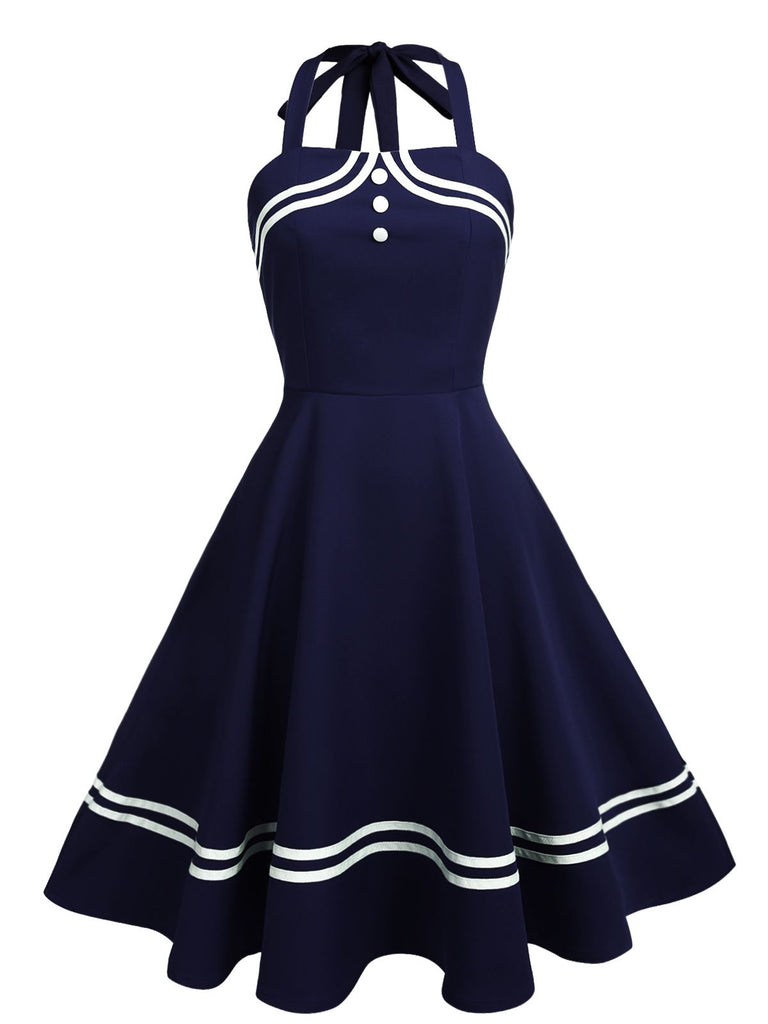 1950s Halter Navy Swing Dress